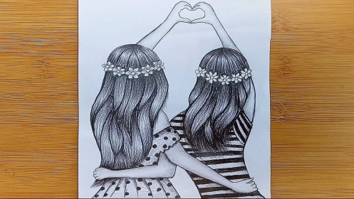 friendship drawing pencil sketch bff friends easy sketches