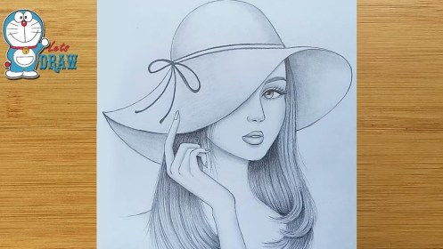 How to draw a girl wearing hat step by step Pencil