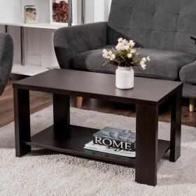 coffee table living storage furniture cocktail shelf rectangular tables wood modern costway giantex end