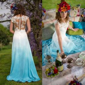 beach colorful dresses lace sleeves gowns noiva vestido bridal praia dyed chiffon robe mariee storenvy colored