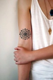 necklaces mandala flower inside arm tattoo girl chest tattoos white top