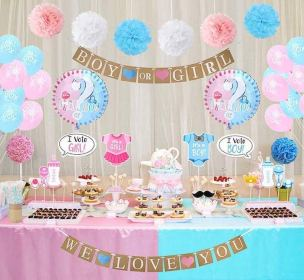reveal gender decorations party boy baby shower balloons table pink dessert decoration para themes balloon props supplies simples parties amazon