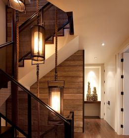 wall wood covering walls cool itself interior lighting stairwell panels rustic industrial paneling avso decor designs wooden paneled decorating indirect