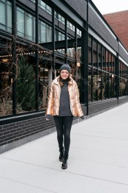 puffer jacket metallic outfit gold rose sequins bows