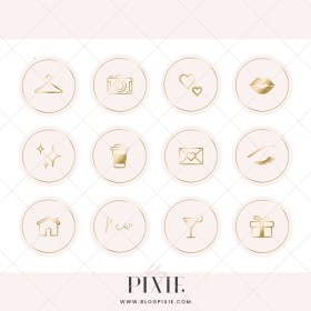 instagram icons pink gold highlight email