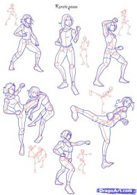 fighting drawing poses positions drawings getdrawings