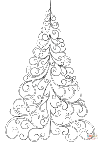 coloring tree christmas pages drawing swirly easy printable simple template star children print sketch getdrawings mandala templates merry ornaments birijus