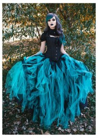 ball gown teal gothic prom d1024