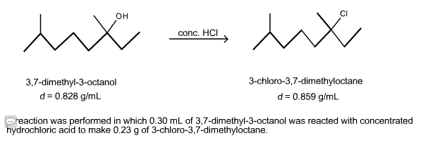 reaction dimethyl octanol performed ml dimethyloctane yield chloro theoretical reacted concentrated