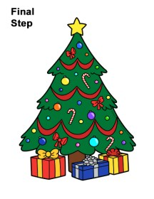 tree christmas drawing draw presents cartoon easy step gifts clipartmag easydrawingtutorials