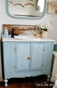 vanity bathroom cabinet repurposed farmhouse bathrooms into diy looking knickoftime projects fashioned fresher much sewing wooden