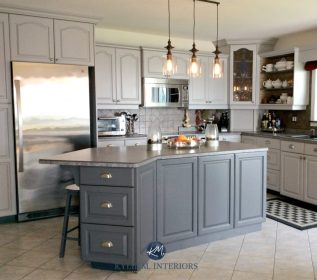 Oak kitchen cathedral cabinets painted Benjamin Moore Baltic Gray and Gray 2121 10 With beige floor tile Kylie M INteriors E design and online color consulting expert and blogger 1024x902