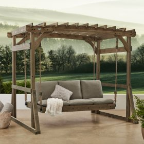 swing pergola porch backyard lounger claremont stand discovery patio swings wood chairs arbor outdoor person chair hanging brown garden seat