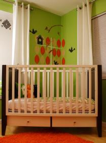 wall decorating rooms wood crib mural nursery hgtv kid birdhouse different painted colored leaves graphics