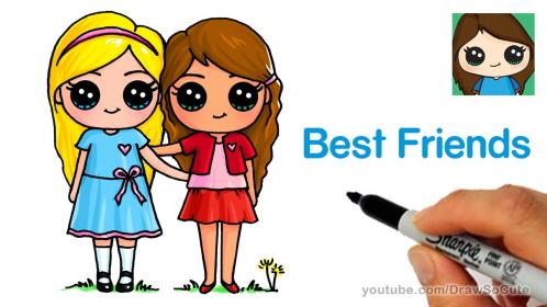 draw friends cute easy drawing forever clipart drawings saying hi friend bff kawaii dibujos