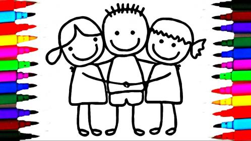 cute boy drawing hugging friends draw coloring pages clipartmag