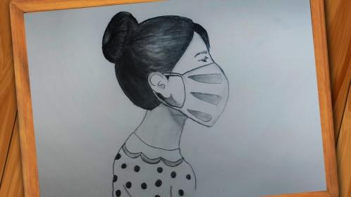 mask drawing pencil draw step sketch
