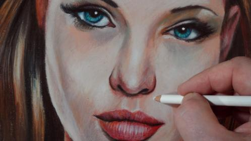 Drawing Angelina Jolie, Time Lapse YouTube