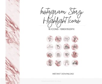 instagram highlight story icons rose highlights covers marble stories gold hand drawn pink profile stand иконки icon pretty instagramstory инстаграм