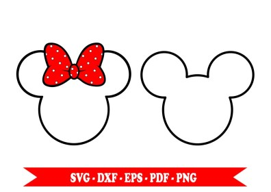 minnie mickey mouse outline svg clip clipart bow silhouette ears head pdf template disney eps cameo cricut tattoo file etsy