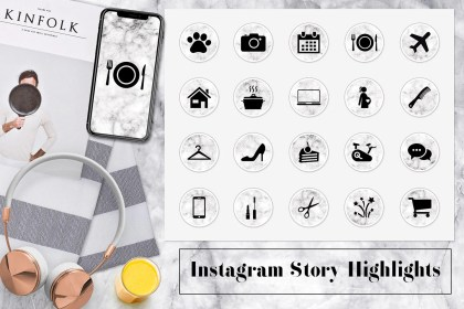 highlight instagram marble icons covers stories highlights story insta template lifestyle etsy thehungryjpeg cart templates il designer follow