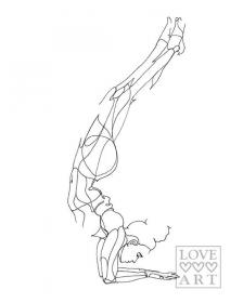 Yoga art print: Forearm Stand or Feathered Peacock Pose by