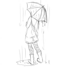 drawing rain simple sketch cool umbrella drawings sketches easy deviantart poses painting reference snow anime into turn said raining draw
