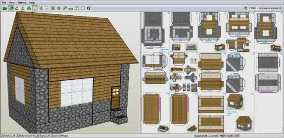 PAPERMAU: Minecraft Village Library Paper Model With