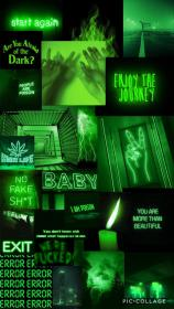 aesthetic green iphone dark tumblr neon collage background wallpapers phone cute backgrounds cool pretty