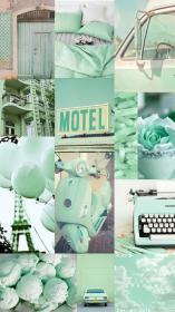 aesthetic pastel mint background collage wallpapers music iphone vsco cute aesthetics backgrounds paris desktop wall retro phone colorful discover site