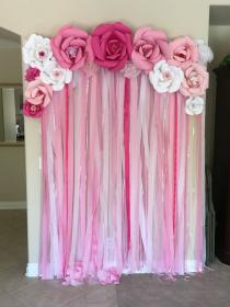 Photo backdrop for a girl baby shower #baby #backdrop #