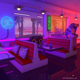 aesthetic 80s 80 neon nostalgia diner synthwave