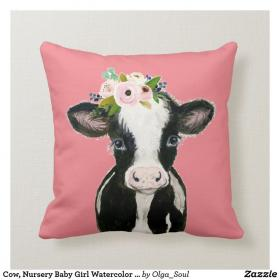Cow, Nursery Baby Girl Watercolor Pink Throw Pillow
