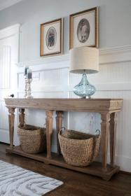 coastal console lake rustic entryway simple wainscoting foyer simplestylings stylings hall tables cottage breakfast nooks lakehouse decorating bathroom reveal digsdigs