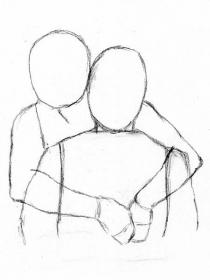 how to draw people hugging from behind the back Easy