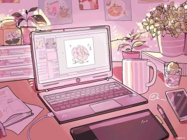 Aesthetic Laptop in 2020 Pastel pink aesthetic, Anime