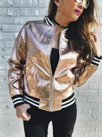 gold bomber jacket rose guardado desde jeans outfit wear