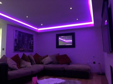 neon lights bedroom led purple teen bedrooms strip modern apartment bed decor lighting paint ceiling master colors