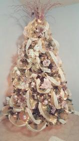 rose gold christmas tree decorations pink xmas ornaments trees decor decorated roses victorian shabby glass chic