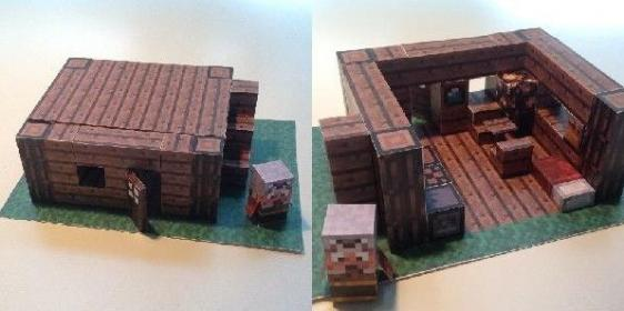 Minecraft Papercraft Advanced Mini House with Furniture
