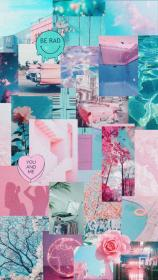 aesthetic pink collage teal pastel happy pool cute wallpapers backgrounds kawaii summer iphone mood simpson uploaded user