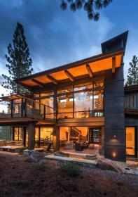 mountain camp martis cabin contemporary stone rustic modern kelly architects lake exterior ski onekindesign homes architecture lot california woodsy wooden