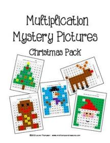 math christmas multiplication grade mystery activities fun graphing facts tree coordinate maths boxes 3rd snowman box third fourth santa holiday