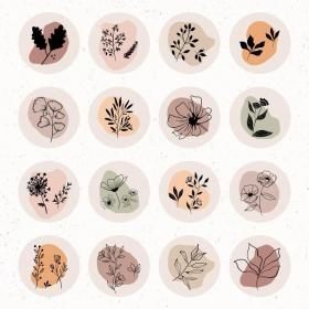 highlight highlights stickers ig covers story aesthetic journal autumn botanicals wildflowers colours warm sticker printable bullet geometric shapes icons planner