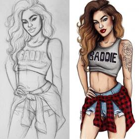 drawings draw drawing natalia madej sketch finish start sketches illustrations face swag dessins fille dessin cool crop hair seems might