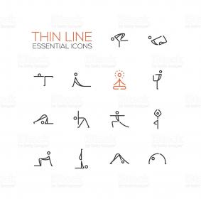 yoga poses icons line vector pilates thin single stick modern illustration simple icon figure istockphoto illustrations figures royalty clip water