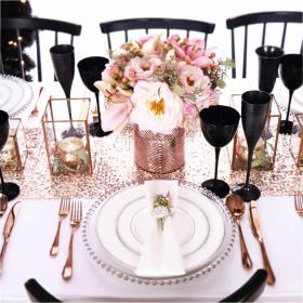 rose table silver christmas setting decorations pink settings blush copper decoration centerpieces dining goldsminters