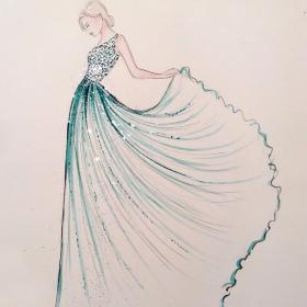drawings drawing dresses sketches uploaded user herself gowns sketchbook