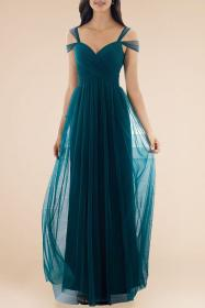 bridesmaid tulle teal dresses dark shoulder bridesmaids formal prom sweetheart gowns flower bridal feminine strapped victoriasqueen
