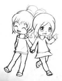 easy drawings friend friends drawing bff sketches sketch draw friendship cool cartoon kawaii pixell